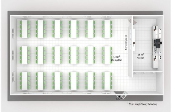 Esivamistettu Kaupallinen Keittiö 170 m²