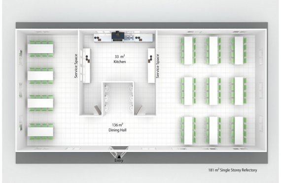 Esivamistettu Kaupallinen Keittiö 181 m²
