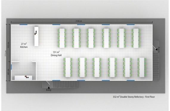 Esivamistettu Kaupallinen Keittiö 332 m²