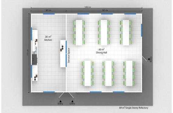 Esivamistettu Kaupallinen Keittiö 89 m²