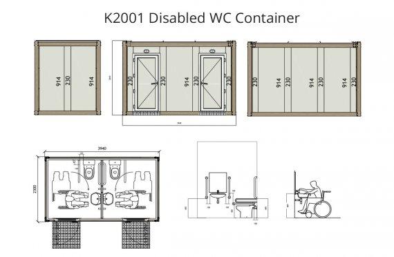 K2001 Liikuntarajoitteinen-Wc-Kontti