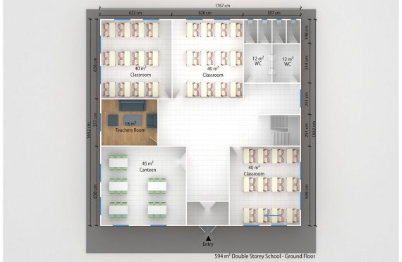 Kannettava Luokkahuone 594 m²