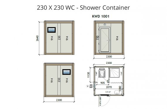 KW2 230X230 Wc-Suihku Kontti