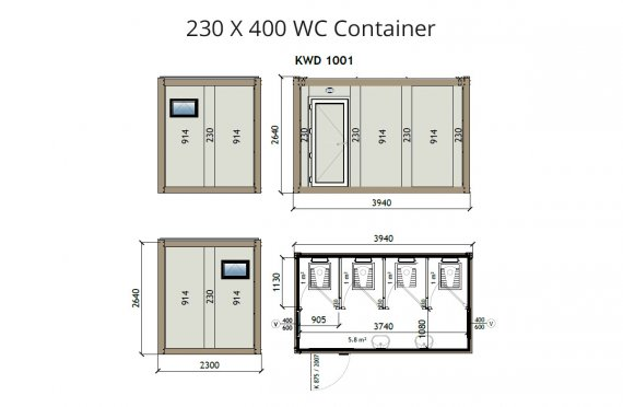 KW4-230X4000 WC Kontti