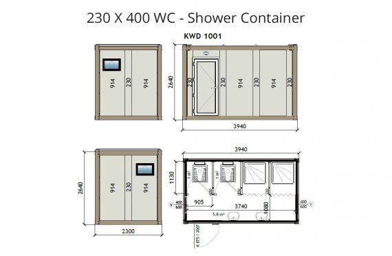 KW4 230X400 WC-Suihku Kontti