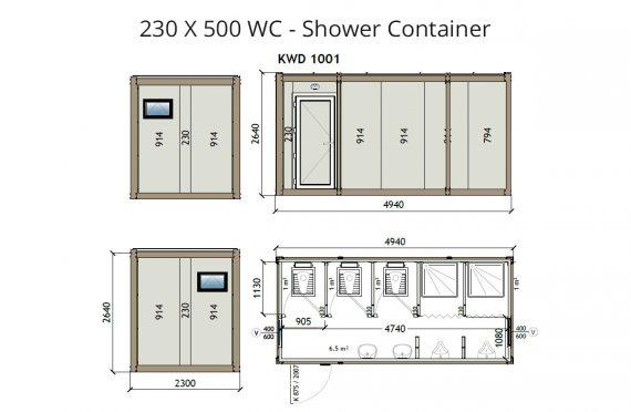 KW6 230X500 WC-Suihku Kontti