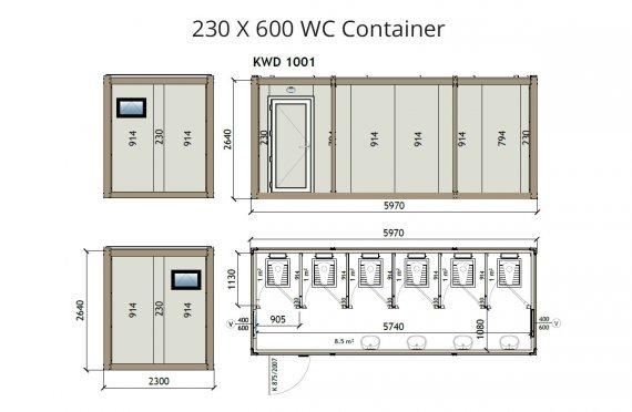 KW6 230X600 WC Suihku  Kontti