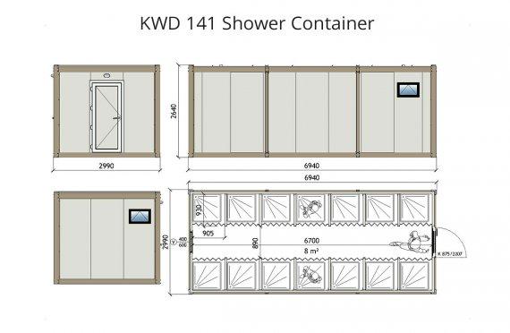 KWD 141 Suihku  Kontti