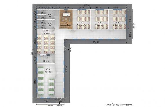Kannettava Luokkahuone 308 m²