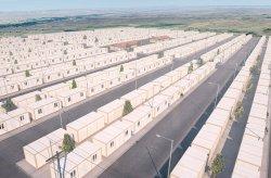Konttirakennusprojekti varten Syyrian pakolaisten